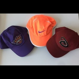 Hats.One orange Nike red diamondbacks, purple suns